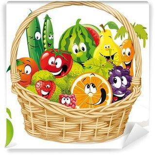 Fotomural Estándar Cesta de frutas y verduras feliz