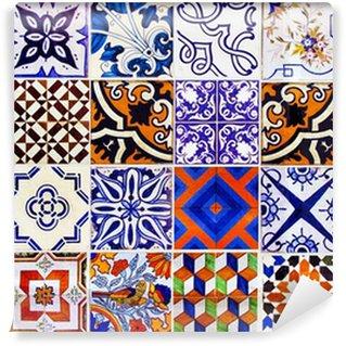 Fotomural Estándar Cierre de las baldosas cerámicas tradicionales de Lisboa