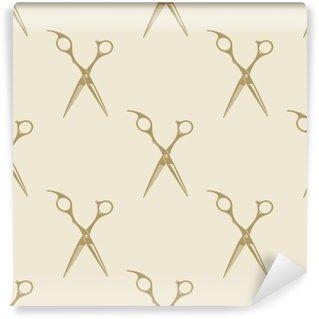 Fotomural Estándar Colección de etiquetas patrón de tijeras azulejo de fondo sin fisuras barbería vendimia símbolo emblema