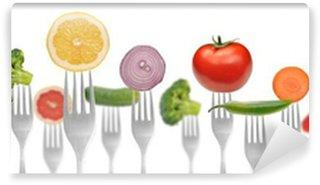 Fotomural Estándar Concept.vegetables dieta y frutas en la colección de tenedores