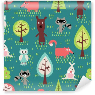 Fotomural Estándar Cute animals Seamless pattern.