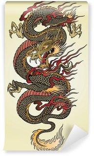 Fotomural Estándar Detallada Asian Dragon Tattoo Ilustración
