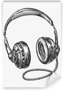 Fotomural Estándar Dibujados a mano auriculares de la vendimia. música boceto. ilustración vectorial