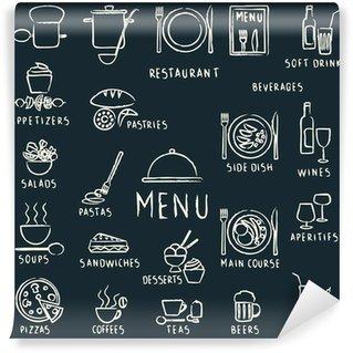 Fotomural Estándar Dibujados restaurante de menú elementos de diseño de tiza en la pizarra