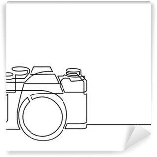 Fotomural Estándar Dibujo de línea continua de cámara de fotos retro