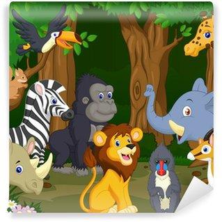 Fotomural Estándar Dibujos animados de animales salvajes