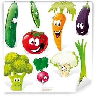 Fotomural Estándar Divertidos dibujos animados de verduras aislados sobre fondo blanco