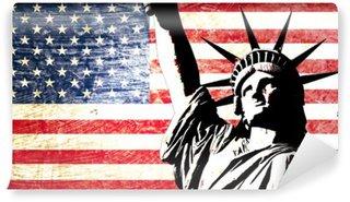 Fotomural Estándar Drapeau EE.UU. statue de la liberté