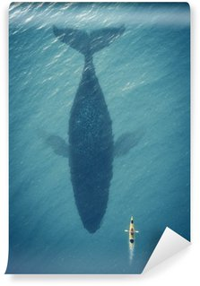Fotomural Estándar El hombre en un barco flota junto a un pez grande, ballena.