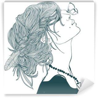 Fotomural Estándar El perfil de la mujer hermosa con la mariposa
