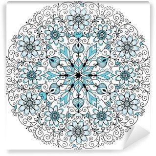 Fotomural Estándar Encaje floral marco redondo de la vendimia