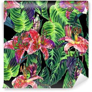 Fotomural Estándar Estampado de flores tropicales sin fisuras. lirios de color rosa y hojas exóticas calathea sobre fondo negro, efecto invertido. Arte pintado a mano de la acuarela. textura de la tela.