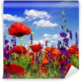 Fotomural Estándar Flores silvestres de verano y las nubes