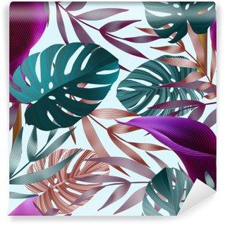 Fotomural Estándar Flores tropicales, hojas de la selva, flor de ave del paraíso.
