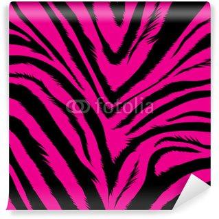 Fotomural Estándar Fondo de color rosa agresivo basado en las pieles de cebra