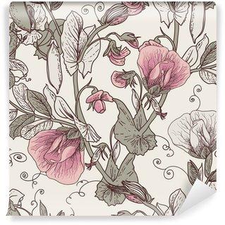 Fotomural Estándar Fondo floral sin fisuras con los guisantes en flor
