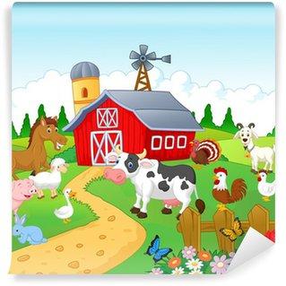 Fotomural Estándar Fondo granja con animales