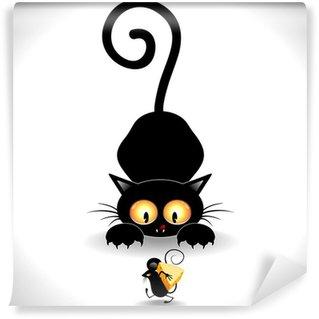 Fotomural Estándar Gato de la historieta-Cat Emboscada Emboscada y Mickey Mouse Clip Art