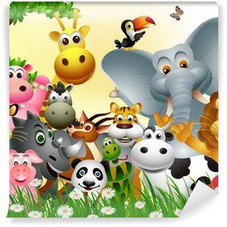 Fotomural Estándar Gran conjunto divertido de la historieta del animal con el fondo de los bosques tropicales