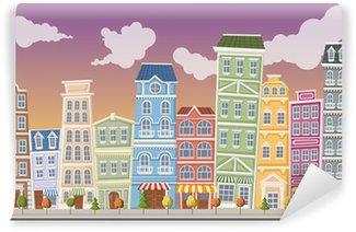Fotomural Estándar Gran paisaje colorido ciudad con edificios