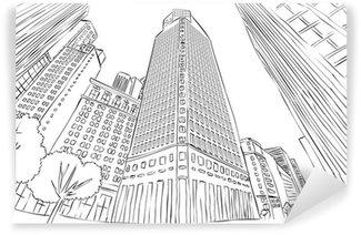 Fotomural Estándar Gran paisaje de la ciudad en blanco y negro de edificios