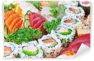 Fotomural Estándar Grupo de alimentos de lujo, el caviar sushi, salmón de cerca.
