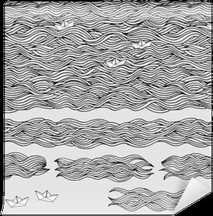 Fotomural Estándar Handgezeichnetes Hintergrundmuster / Wellen