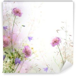 Fotomural Estándar Hermosa frontera floral en colores pastel - fondo borroso
