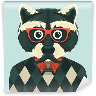 Fotomural Estándar Hipster mapache. Ilustración del vector.