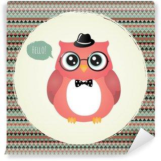 Fotomural Estándar Hipster Owl en textura marco de ilustración, diseño,