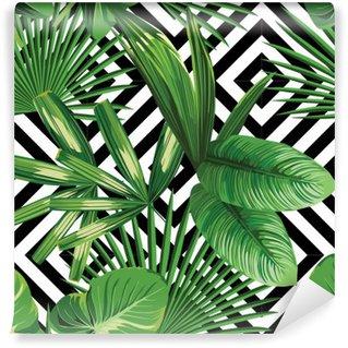 Fotomural Estándar Hojas de palmera tropical modelo, fondo geométrico