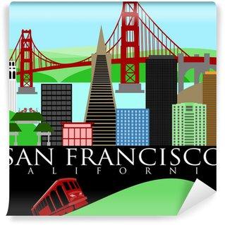 Fotomural Estándar Horizonte de San Francisco con el puente Golden Gate