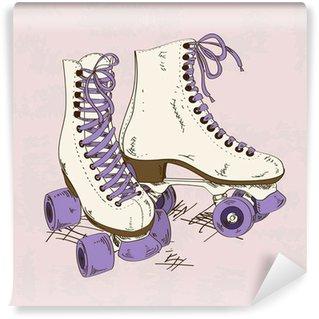 Fotomural Estándar Ilustración con patines retro rodillos