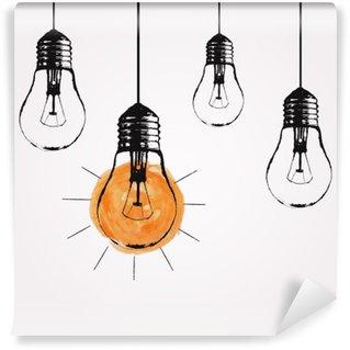 Fotomural Estándar Ilustración de grunge vector con colgar las bombillas y el lugar de texto. estilo de dibujo última moda moderna. idea única y el concepto de pensamiento creativo.