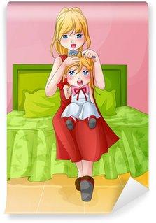 Fotomural Estándar Ilustración de la historieta de una madre peinándose su hijo