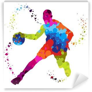 Fotomural Estándar Jugador de baloncesto con puntos de colores