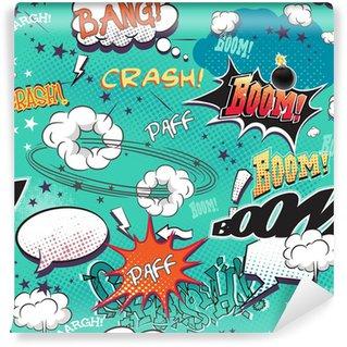 Fotomural Estándar La página de cómics con burbujas para el habla, diferentes sonidos, flechas.