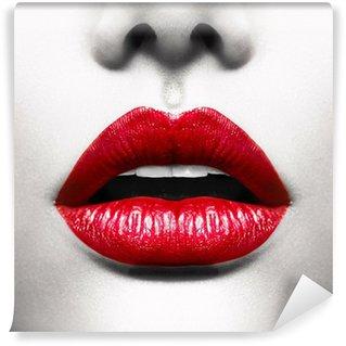 Fotomural Estándar Labios atractivos. Imagen conceptual con la boca abierta Vivid Red
