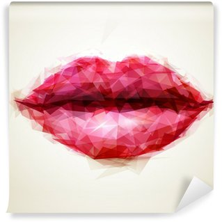 Fotomural Estándar Labios hermosos de la mujer formados por triángulos abstractos