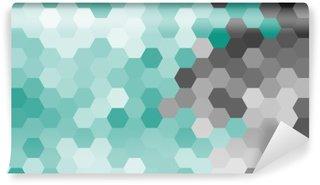 Fotomural Lavable Azul patrón geométrico hexágono en colores pastel sin contorno.