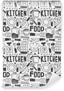 Fotomural Lavable Cocina elementos garabatos mano línea trazada icono, eps10