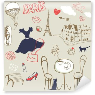 Fotomural Lavable Conjunto de la mano dibujado símbolos de París