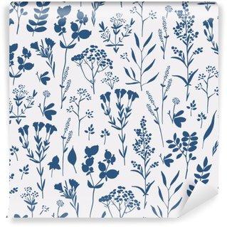 Fotomural Lavable Estampado de flores dibujado a mano sin fisuras con las hierbas