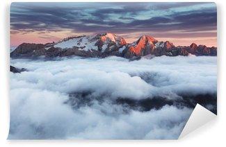 Fotomural Lavable Montaña Marmolada al atardecer en Italia Dolomitas en verano