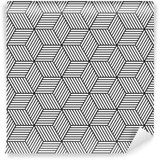 Fotomural Lavable Patrón geométrico transparente con cubos.
