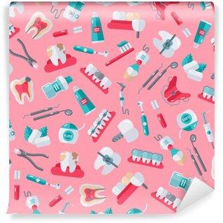 Fotomural Lavable Patrón sin fisuras dentista en fondo rosado