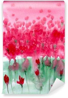 Fotomural Lavable Pintura de acuarela. prado de fondo con flores rojas.