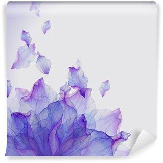 Fotomural Lavable Tarjeta de la acuarela con el pétalo de la flor púrpura
