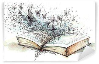 Fotomural Estándar Libro con las mariposas (pintura Cbm)