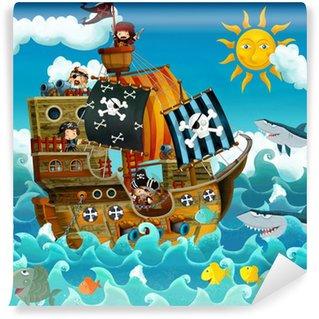 Fotomural Estándar Los piratas en el mar - ilustración para los niños